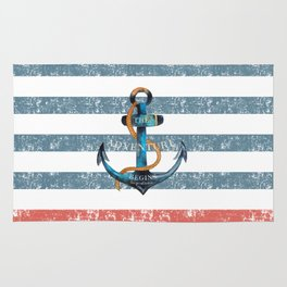 Maritime Design- Nautic Anchor on stripes in blue and red Rug