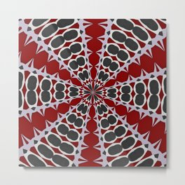 Red Black White Pattern Metal Print