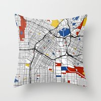 los angeles Throw Pillows featuring Los Angeles by Mondrian Maps