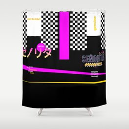 Graphic Over Tee ONLY Retro Japanese Shower Curtain