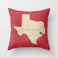 houston Throw Pillows featuring Houston, Texas by Fercute