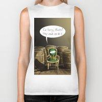 pewdiepie Biker Tanks featuring Mr. Chair, NO! by MuddyTiger