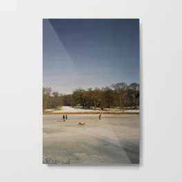 Ice Skaters, Blickling Lake, Norfolk Metal Print