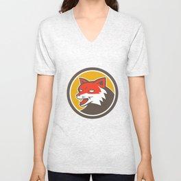 Red Fox Head Growling Circle Retro Unisex V-Neck