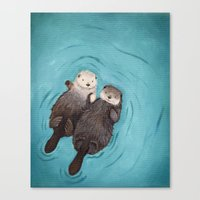 otters Canvas Prints featuring Otterly Romantic - Otters Holding Hands by When Guinea Pigs Fly