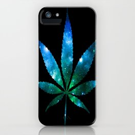 Weed : High Times Blue Green Galaxy iPhone Case
