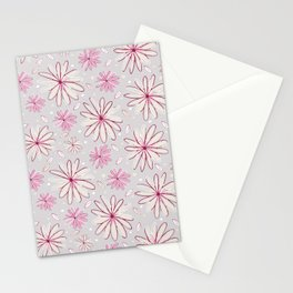 Pink and Grey Whimsical Flower Garden Drawings Stationery Cards
