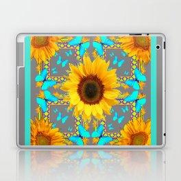Decorative Yellow Sunflowers & Blue Butterflies Design Grey Art Laptop & iPad Skin