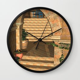 Old Town Stairs and Arches Wall Clock