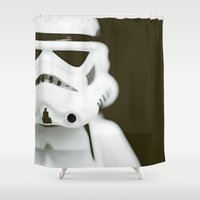 trooper Shower Curtains featuring trooper portrait by Emma Harckham