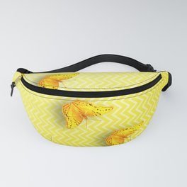 Butterflies on buttercup yellow chevron pattern Fanny Pack