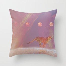 beach cheetah Throw Pillow