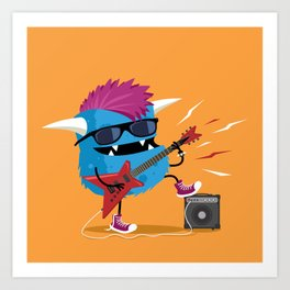Monster punk rocks with his electric guitar Art Print