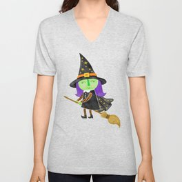 Cute Halloween Witch Unisex V-Neck