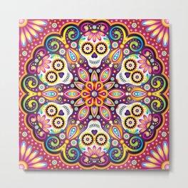 Sugar Skull Mandala - Day of the Dead Mandala Art by Thaneeya McArdle Metal Print