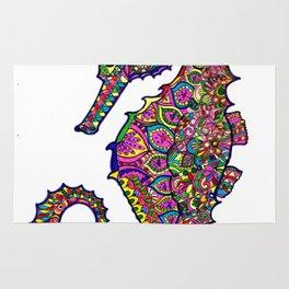 Seahorse colourful mandala Rug