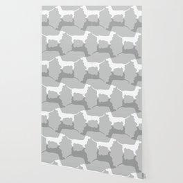 Silver Dachshund Pattern Wallpaper