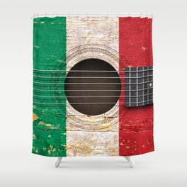 Old Vintage Acoustic Guitar with Italian Flag Shower Curtain