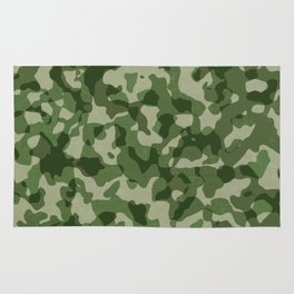 Military Jungle Green Camouflage Rug