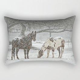 2 Horses under a tree in winter Rectangular Pillow