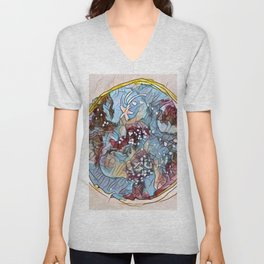 Star Galaxy Teal Purple Brown Mandala watercolor by CheyAnne Sexton Unisex V-Neck