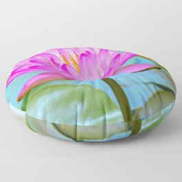 Pink Water Lily Flower - Nature Photography Floor Pillow