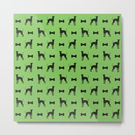 Dog and bone - Lurcher – mini green Metal Print
