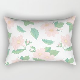 Summer Days Pink Floral Print Rectangular Pillow