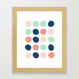 Polka dots abstract dotted pattern brushstrokes paint brush marks abstract trendy colors Framed Art Print