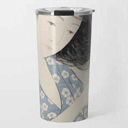Woman in Blue Combing Her Hair - Hashiguchi Goyo Travel Mug