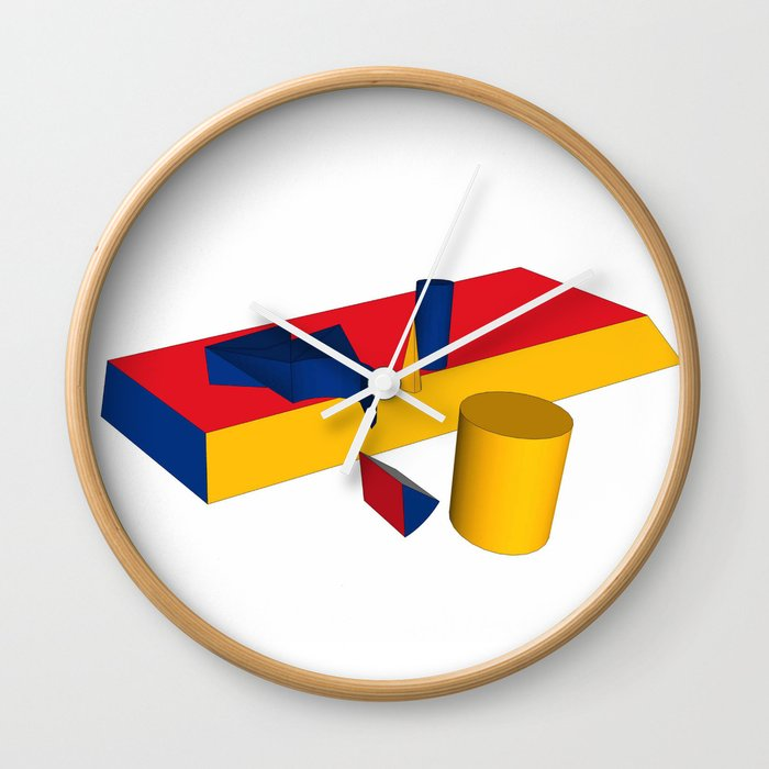 geometric primary colours Wall Clock
