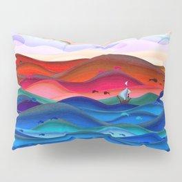 Blue ocean red mountains Pillow Sham