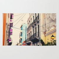 puerto rico Area & Throw Rugs featuring Colorful Buildings of Old San Juan, Puerto Rico by Kim Fearheiley Photography