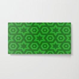 Modern Abstract Geometric Stars - Green - Matching Set 1 of 2 Metal Print
