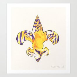 Fleur De Lis LSU Tiger Art Print