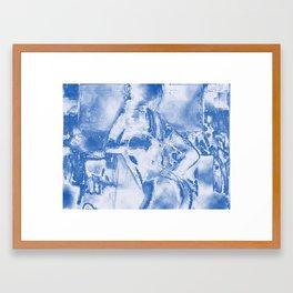 Cyber Dancer Blue and White Framed Art Print