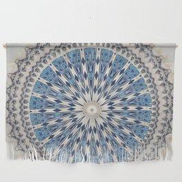 Bright Blue Marble Mandala Design Wall Hanging
