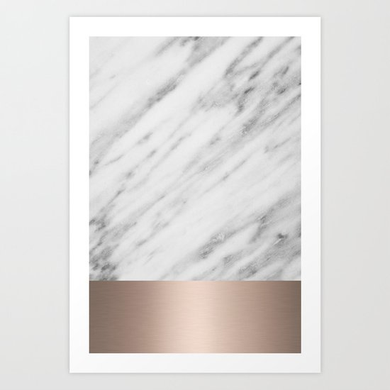 Carrara Italian Marble Holiday White Gold Edition Art Print