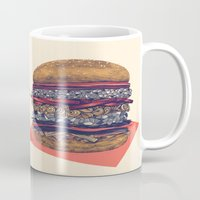 burger Mugs featuring burger by mr. louis