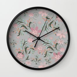 Retro . Pink flowers on grey background . Wall Clock