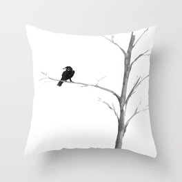 Raven in a Tree Throw Pillow