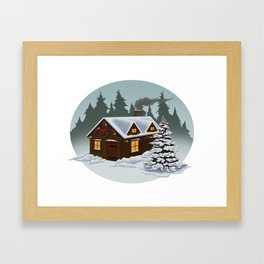Holiday Cabin Framed Art Print
