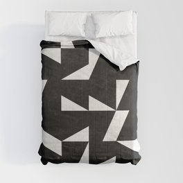 Mid-Century Modern Pattern No.10 - Black and White Concrete Comforters