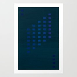Green with squares Art Print