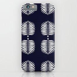 TROPICAL PALMS . INDIGO BLUE + WHITE iPhone Case