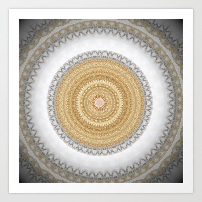 Gold white White and Silver Marble Kunstdrucke