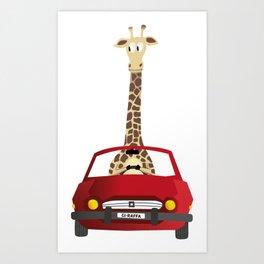Giraffe in a Car Art Print