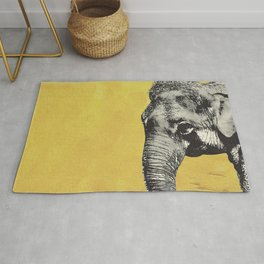 Elephant on yellow Rug