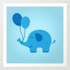 Sweet & Funny Minimal Baby Elephant with Balloons Art Print