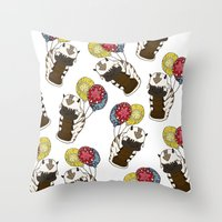 appa Throw Pillows featuring Appa tied to Balloons by nsvtwork